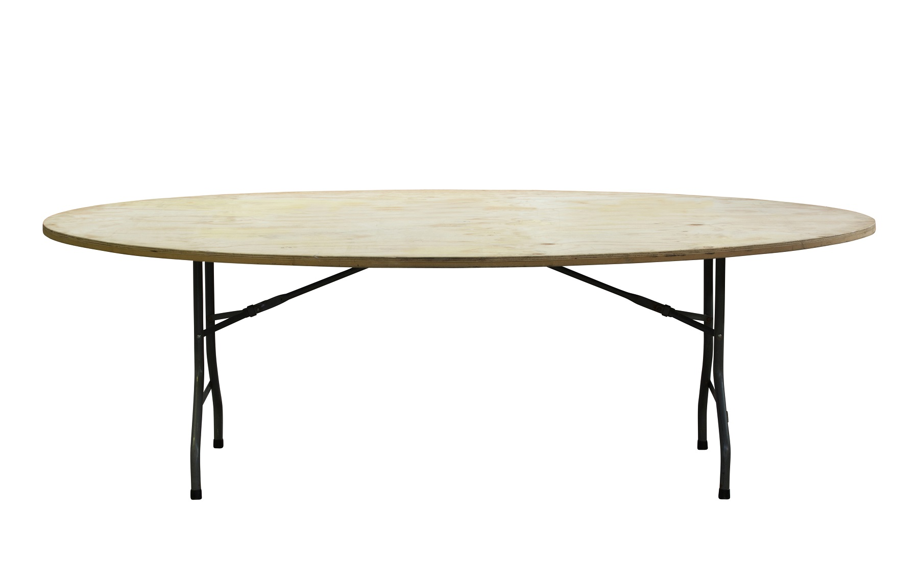Oval Table Tops - Egg Shaped sits on 2.1m trestle with flat bar locking